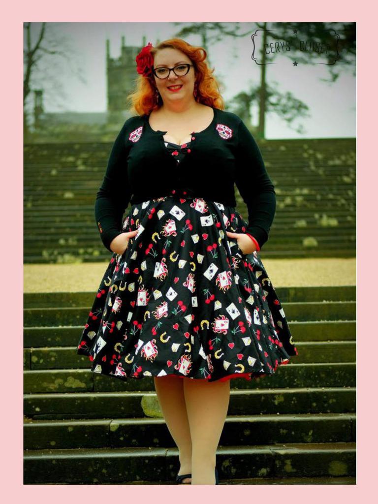 Hell Bunny Viva Las Vegas Playing Card 50s Vintage Inspired Swing Dress