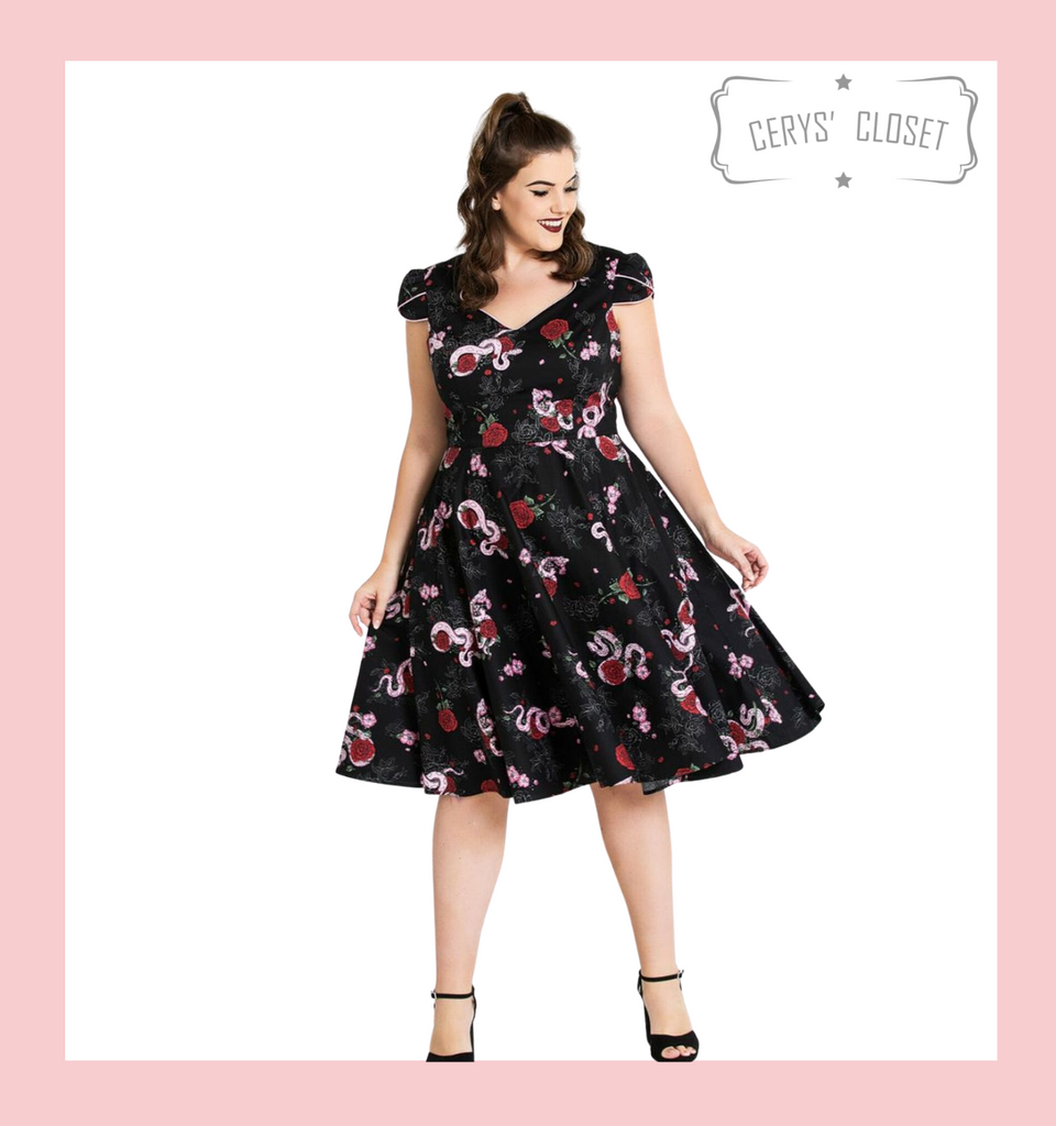 Hell Bunny Red Rose and Pink Python 50s Vintage Inspired Swing Dress