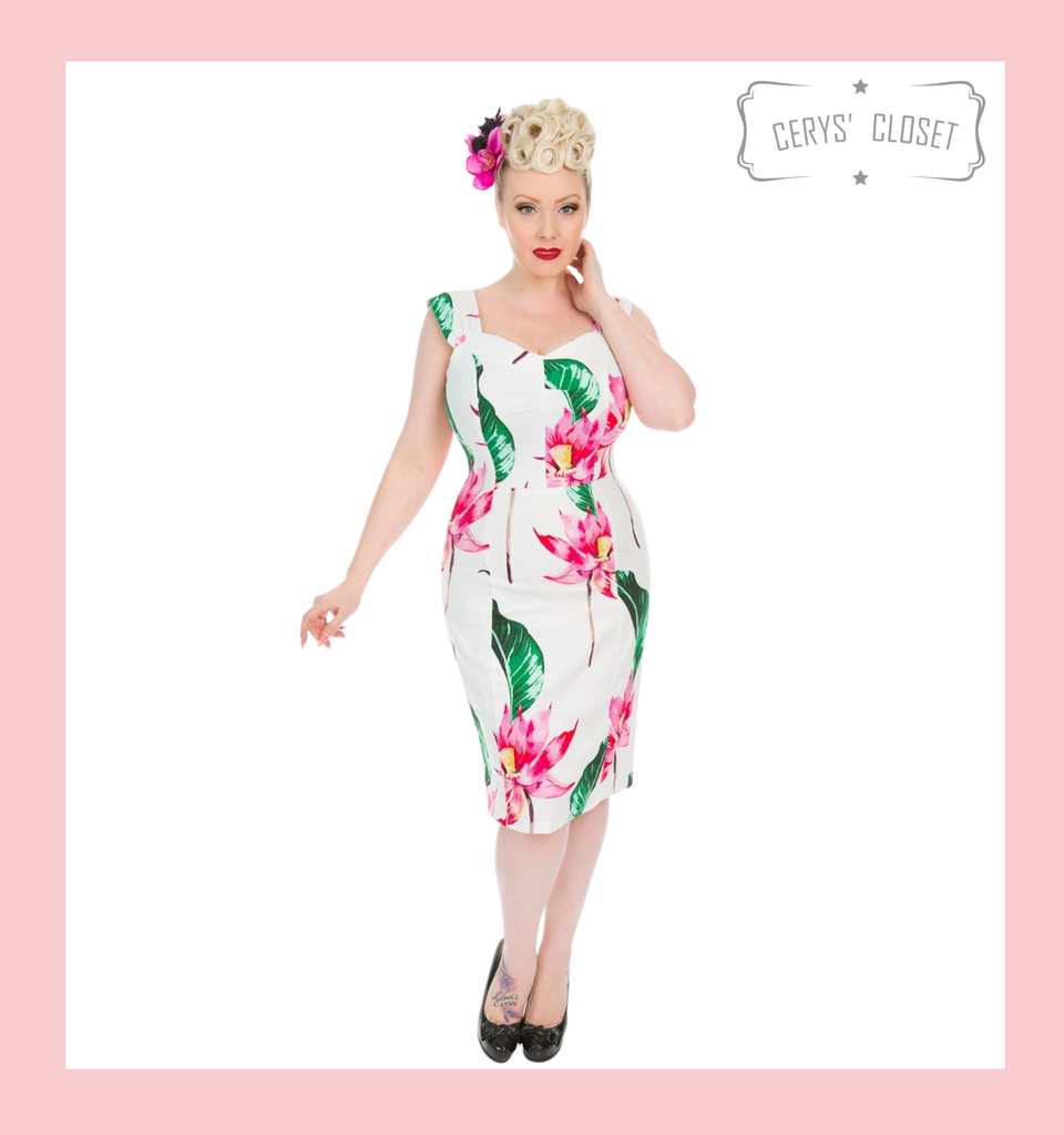 Hearts and Roses London White 50s Vintage Inspired Dress with Large Pink Floral Blooms and Green Leaves Wiggle Dress - Andromeda