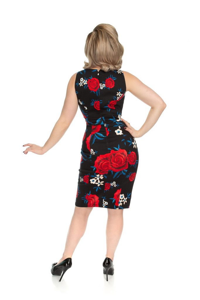 SALE - 1950s Inspired Floral Wiggle Dress - Sylvia