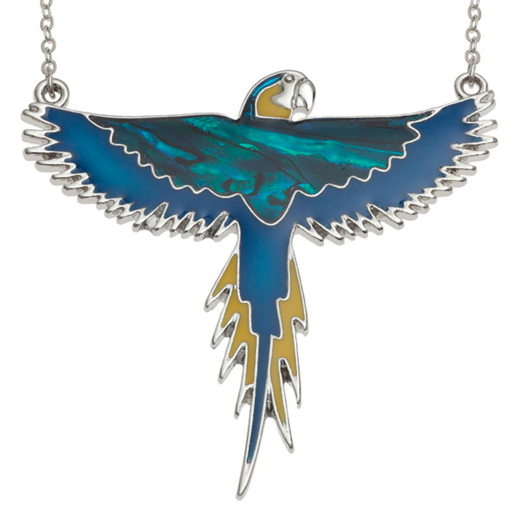 Paua Shell Flying Parrot Necklace Mccaw