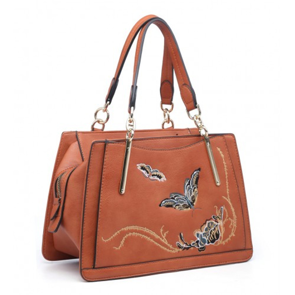 Stunning Butterfly and Flower Embroidered Handbag - Pink
