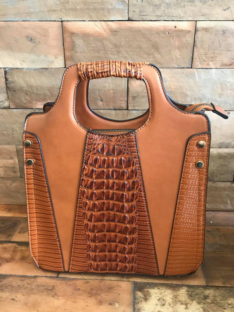 Faux Crocodile Rock N Roll V Handbag - Brown