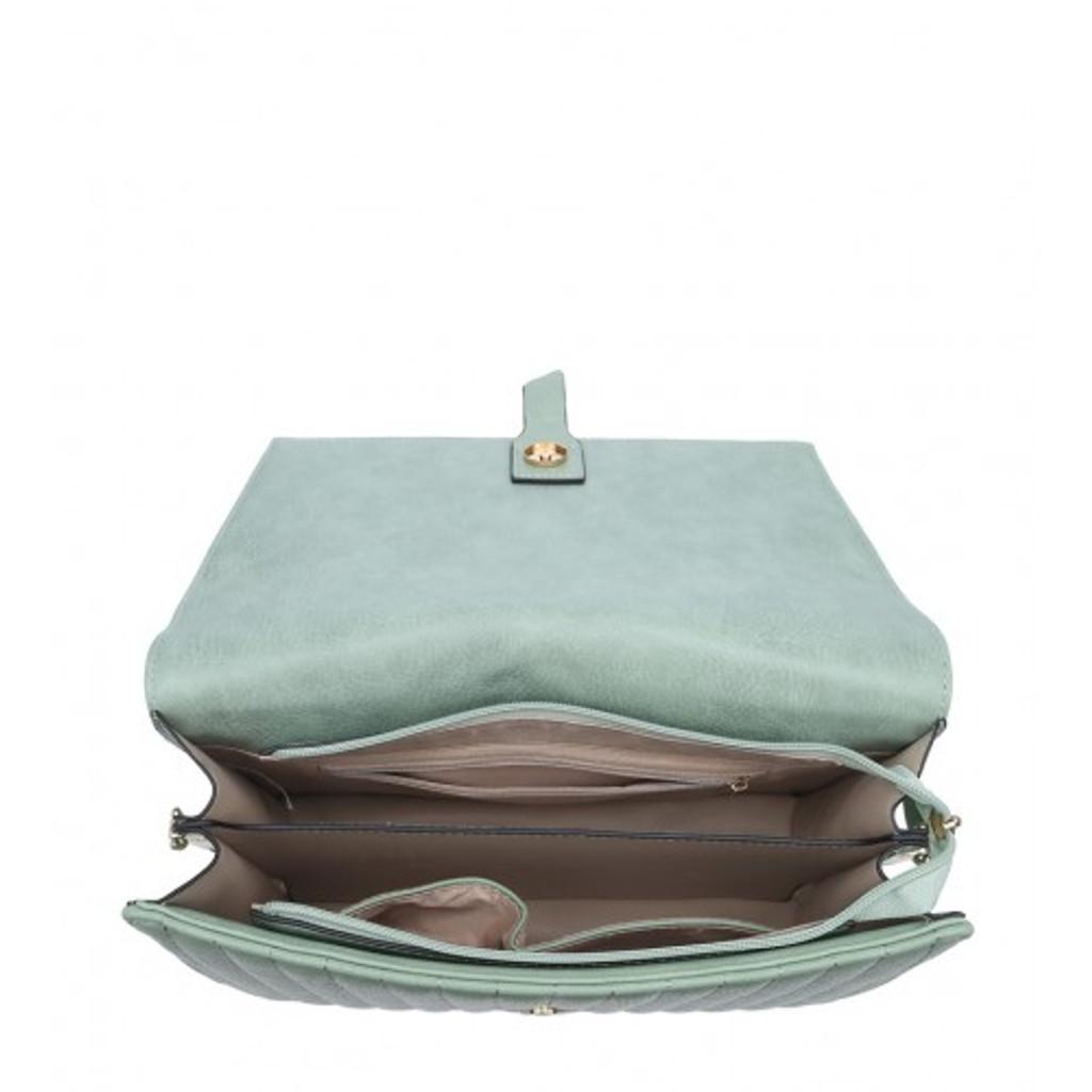 Vintage Satchel Style Handbag With Button Detail and Detachable Shoulder Strap - Black