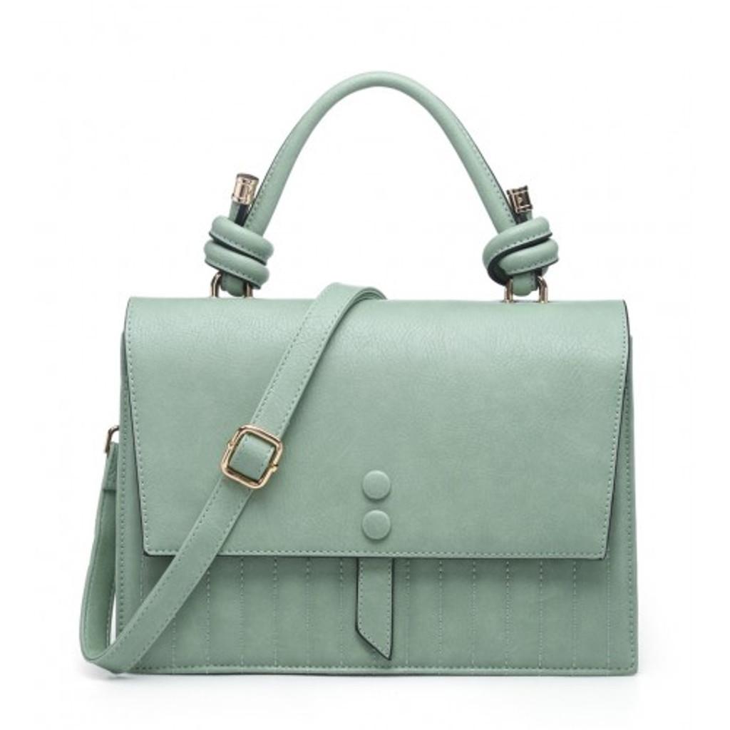 Vintage Satchel Style Handbag With Button Detail and Detachable Shoulder Strap- White