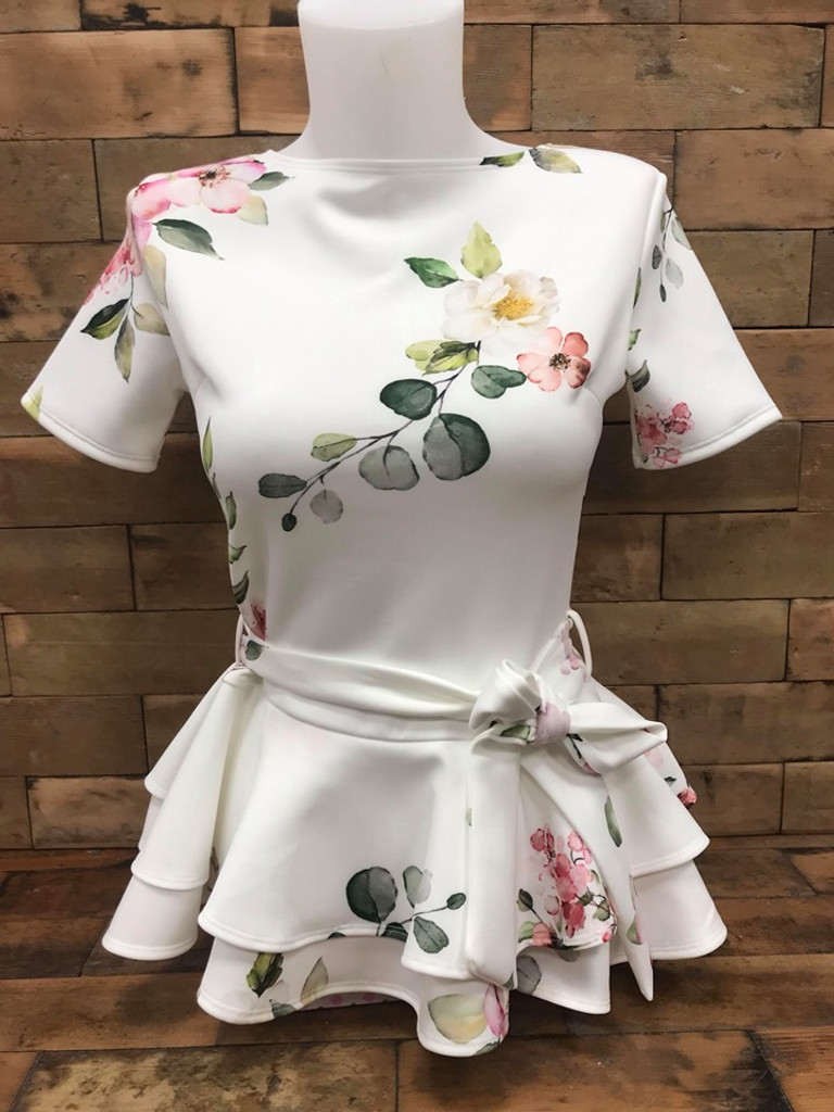 Double Peplum Top White Floral