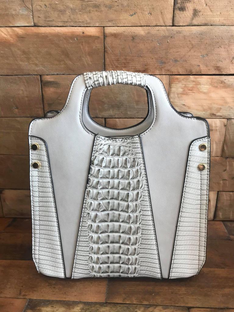 Faux Crocodile Rock N Roll V Handbag - Grey
