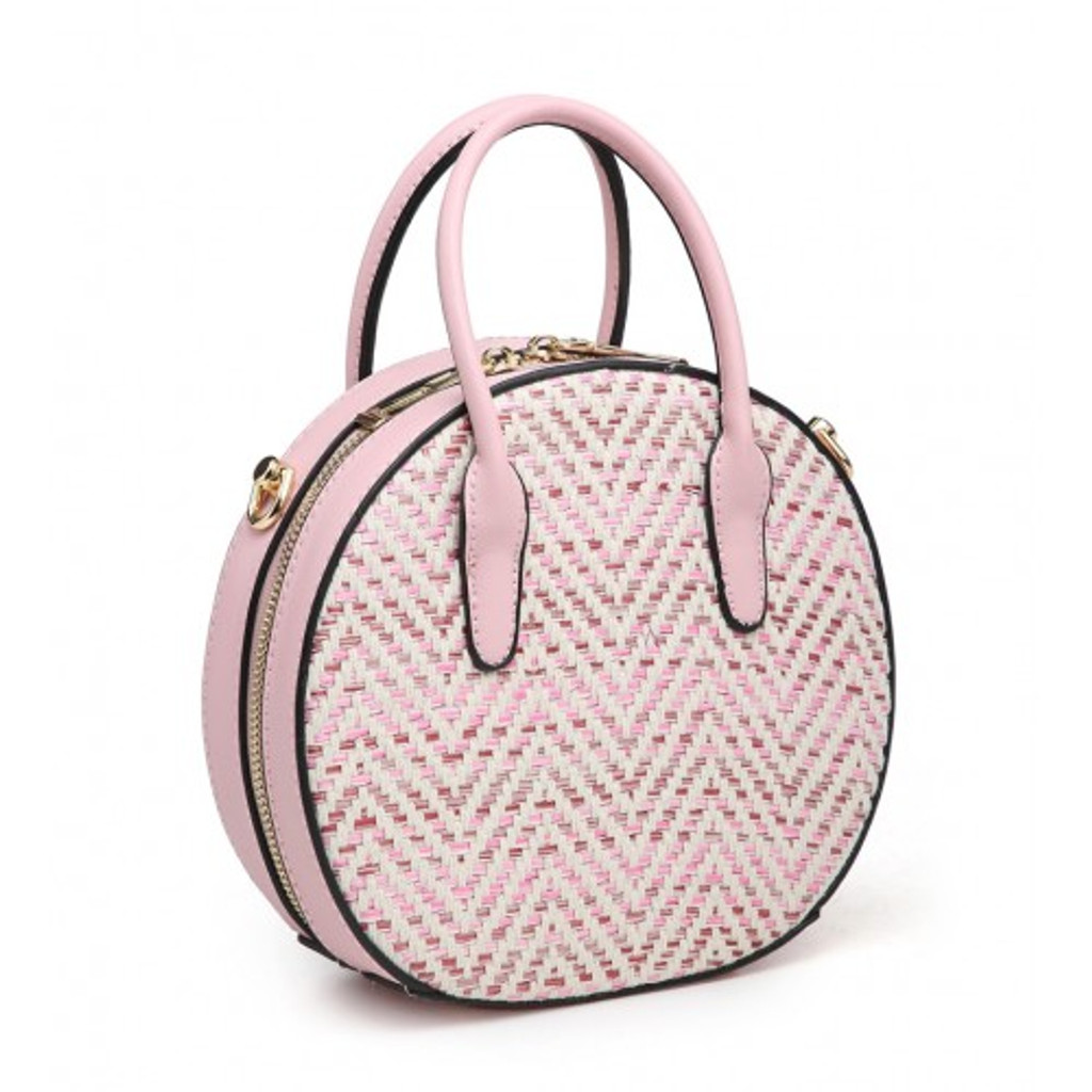 Round Woven Handbag with Glitter Threads and Detachable Shoulder Strap - Pink
