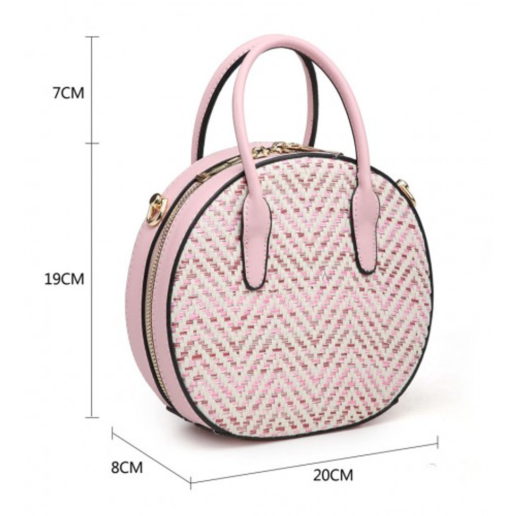 Round Woven Handbag with Glitter Threads and Detachable Shoulder Strap- Navy