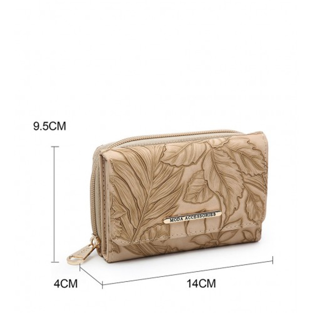 Floral Embossed Purse - Apricot
