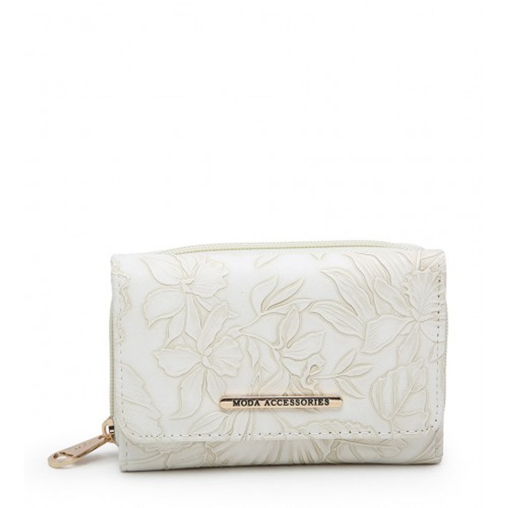 Floral Embossed Purse - White