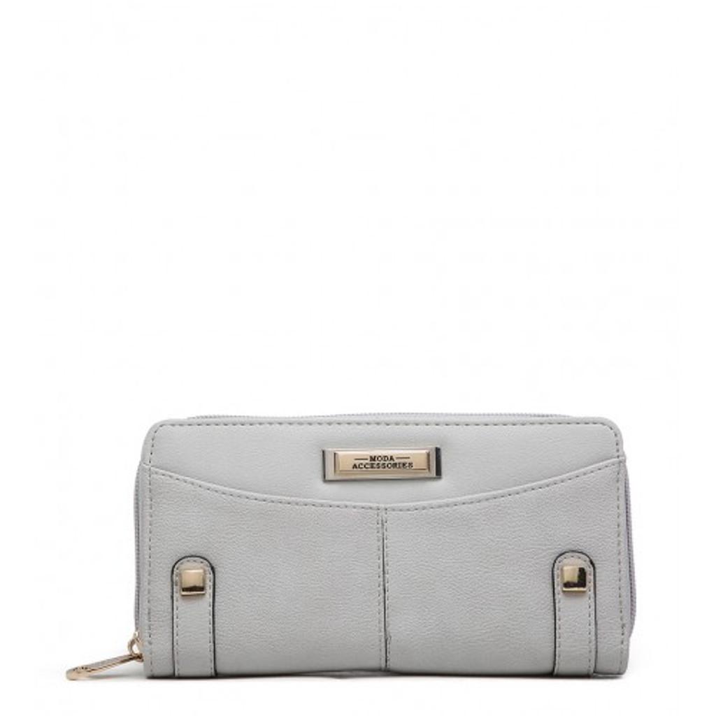 Large Zip Around Purse - Grey