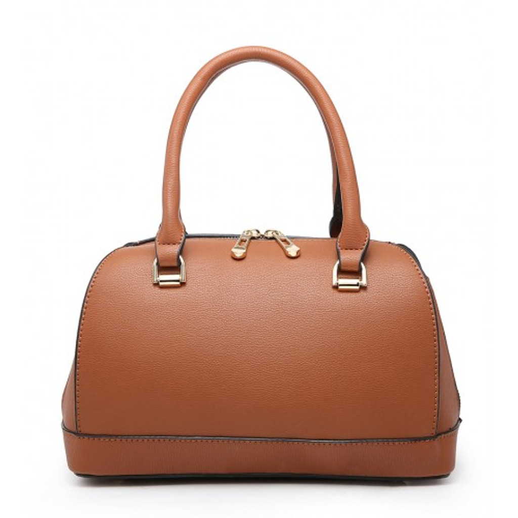 Classic Style Bowler Handbag with Detachable Shoulder Strap - Brown