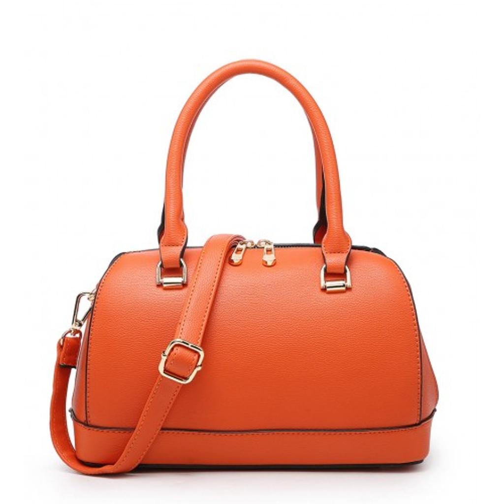 Classic Style Bowler Handbag with Detachable Shoulder Strap - Grey