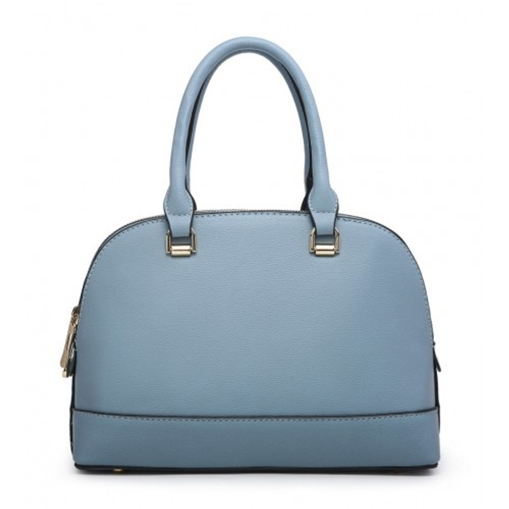 Classic Tote Bag with 2 Zip Compartments and Detachable Shoulder Strap - Blue