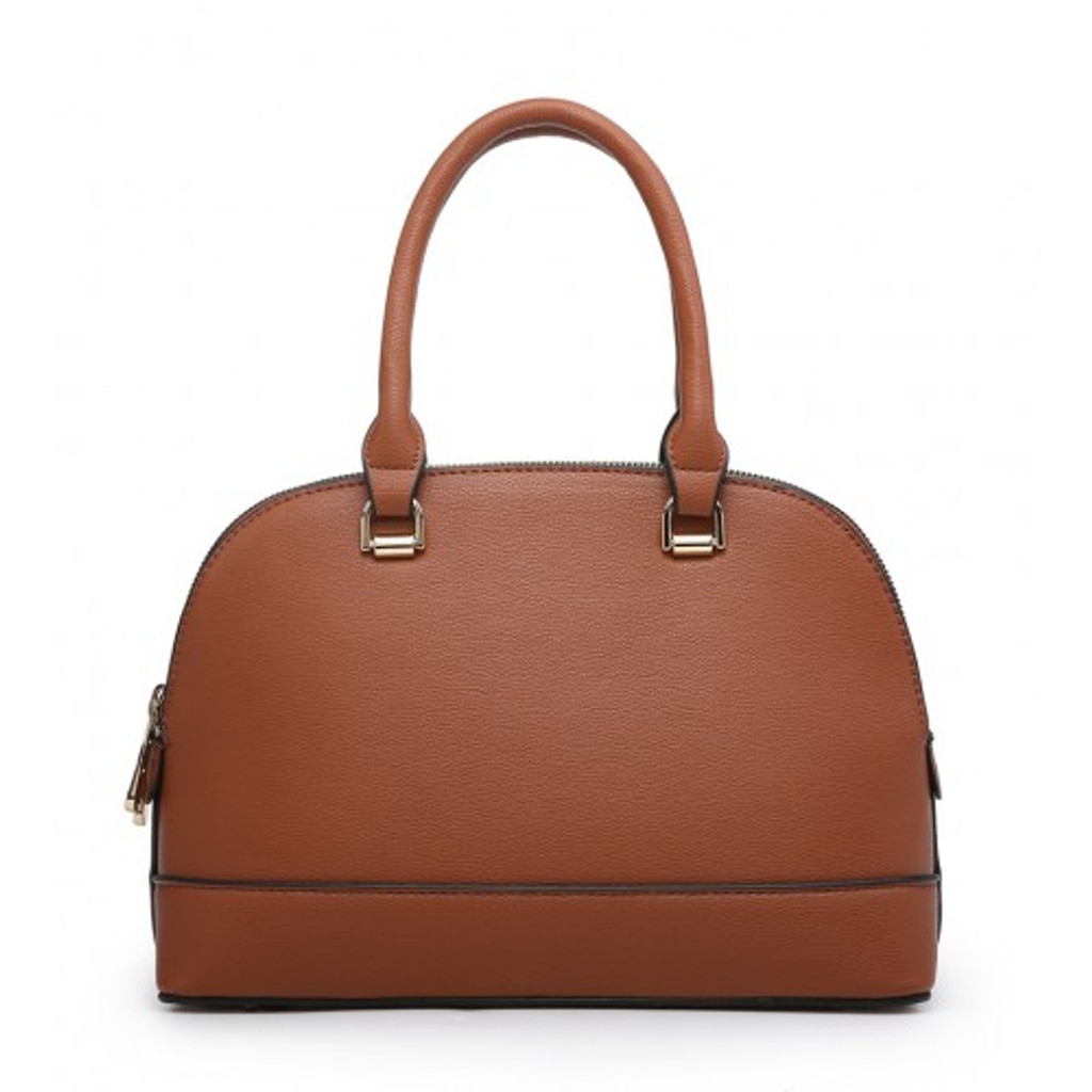 Classic Tote Bag with 2 Zip Compartments and Detachable Shoulder Strap - Brown
