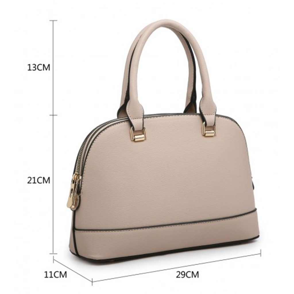 Classic Tote Bag with 2 Zip Compartments and Detachable Shoulder Strap - Grey