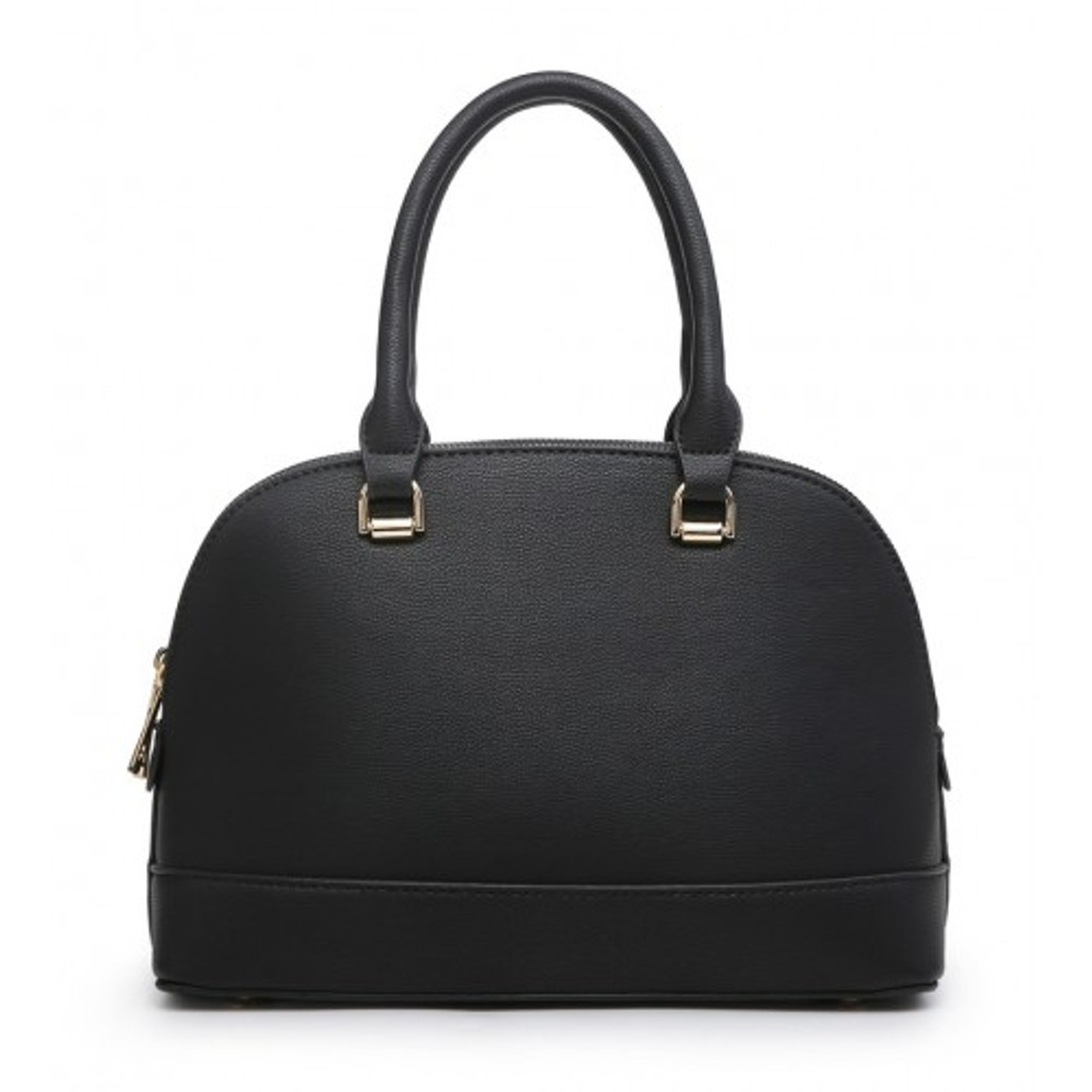 Classic Tote Bag with 2 Zip Compartments and Detachable Shoulder Strap - Black