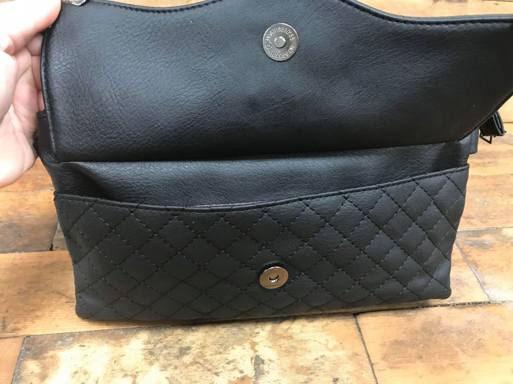 Quilted Handbag with Cross and Chain Embellishment