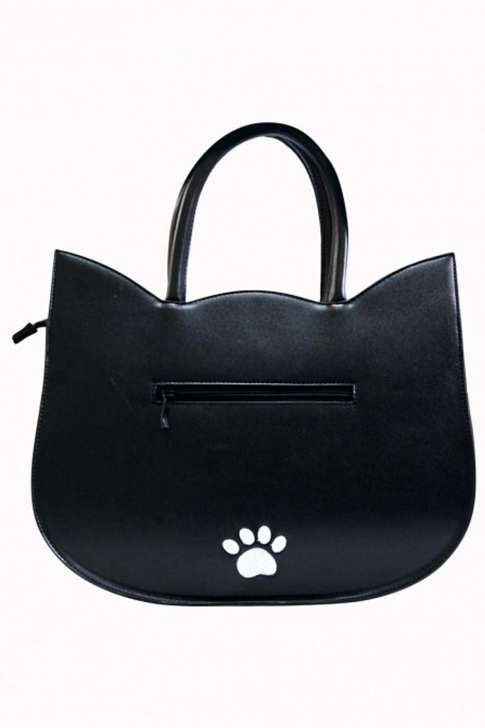 Black Heart of Gold Cat Shaped Handbag With Large Eyes