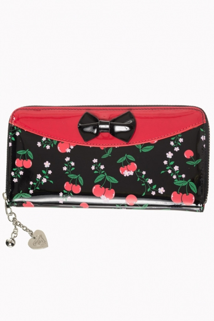 Patent cherry purse with black bow by banned apparel