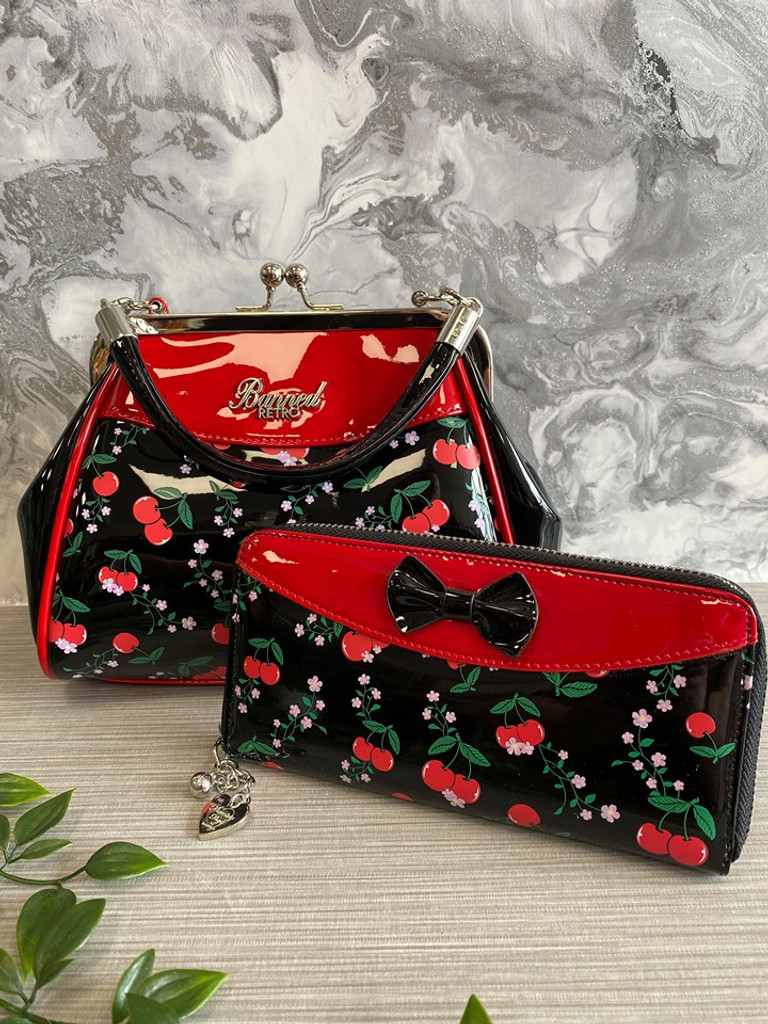 Patent Purse with Cherry Print and Black Bow