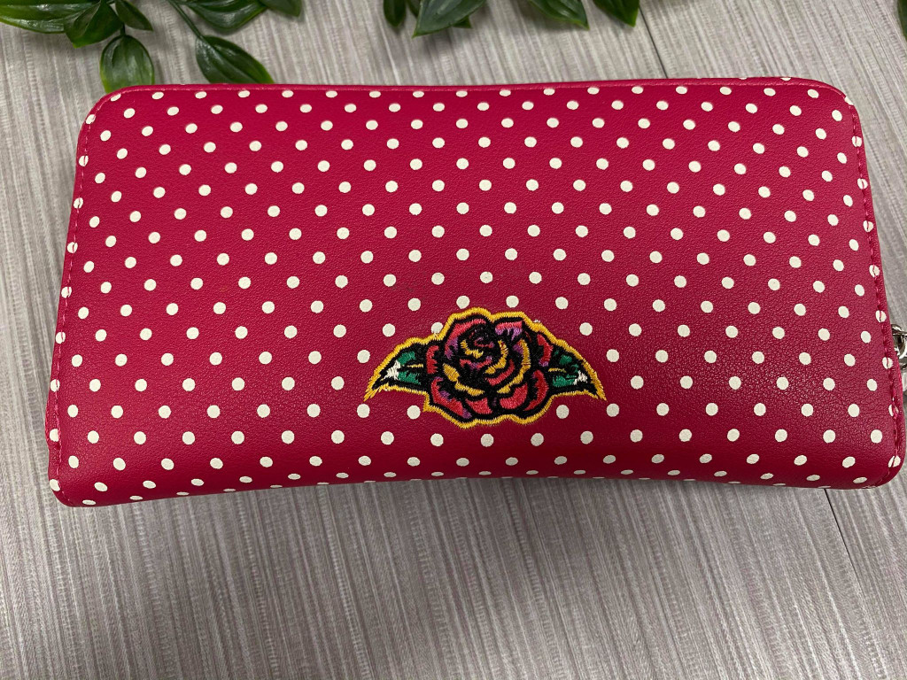 Candy Skull Polka Dot and Rose Embroidered Purse - Red