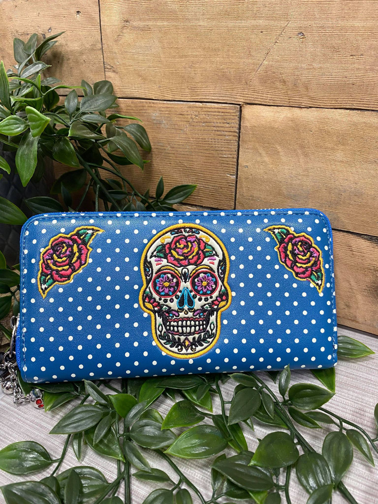 Candy Skull Polka Dot and Rose Embroidered Purse - Blue