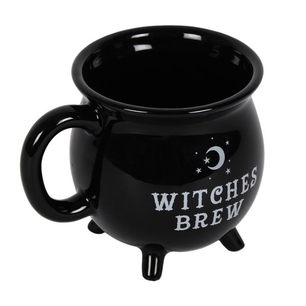 Black and White Witches Brew Cauldron Mug