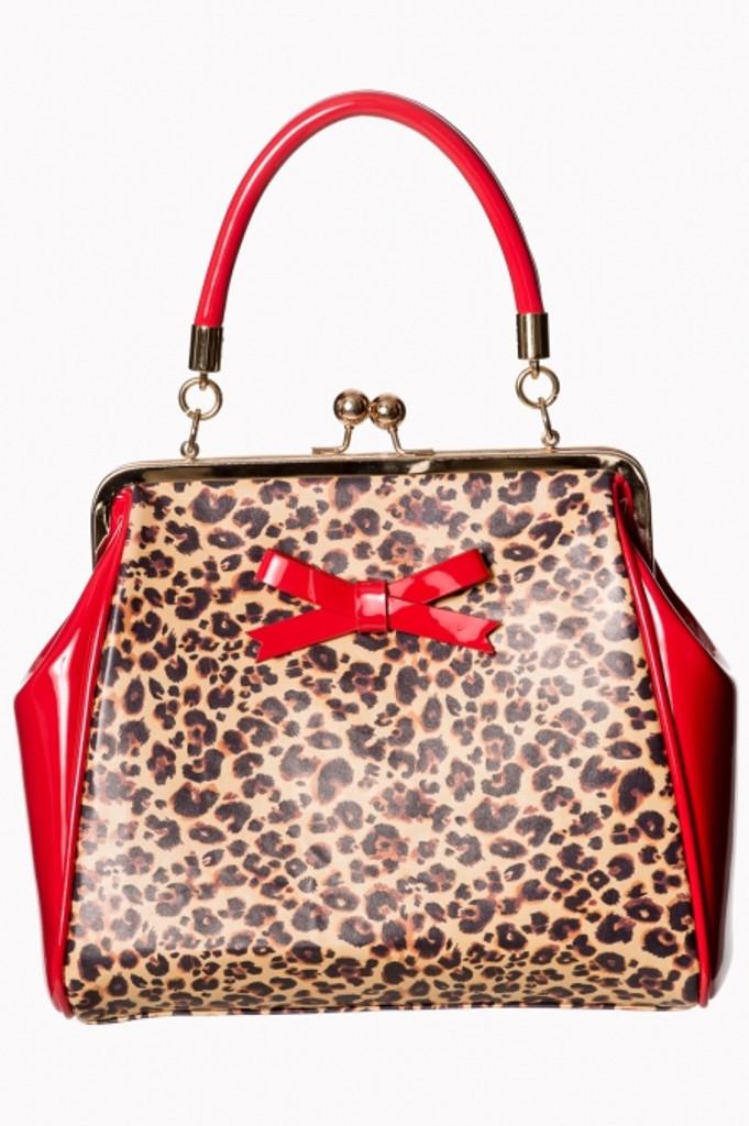 Red Patent and Leopard Print Handbag