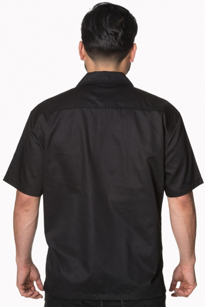 SALE Mens Short Sleeve Black and Tartan Shirt