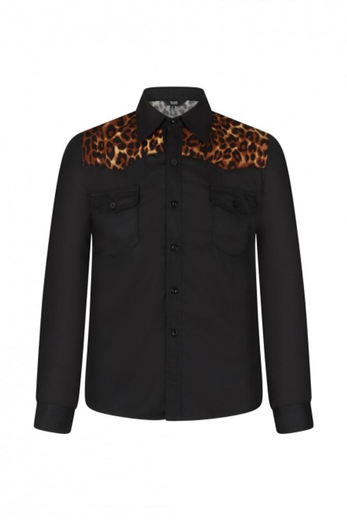 SALE Mens Long Sleeve Leopard Print Shirt