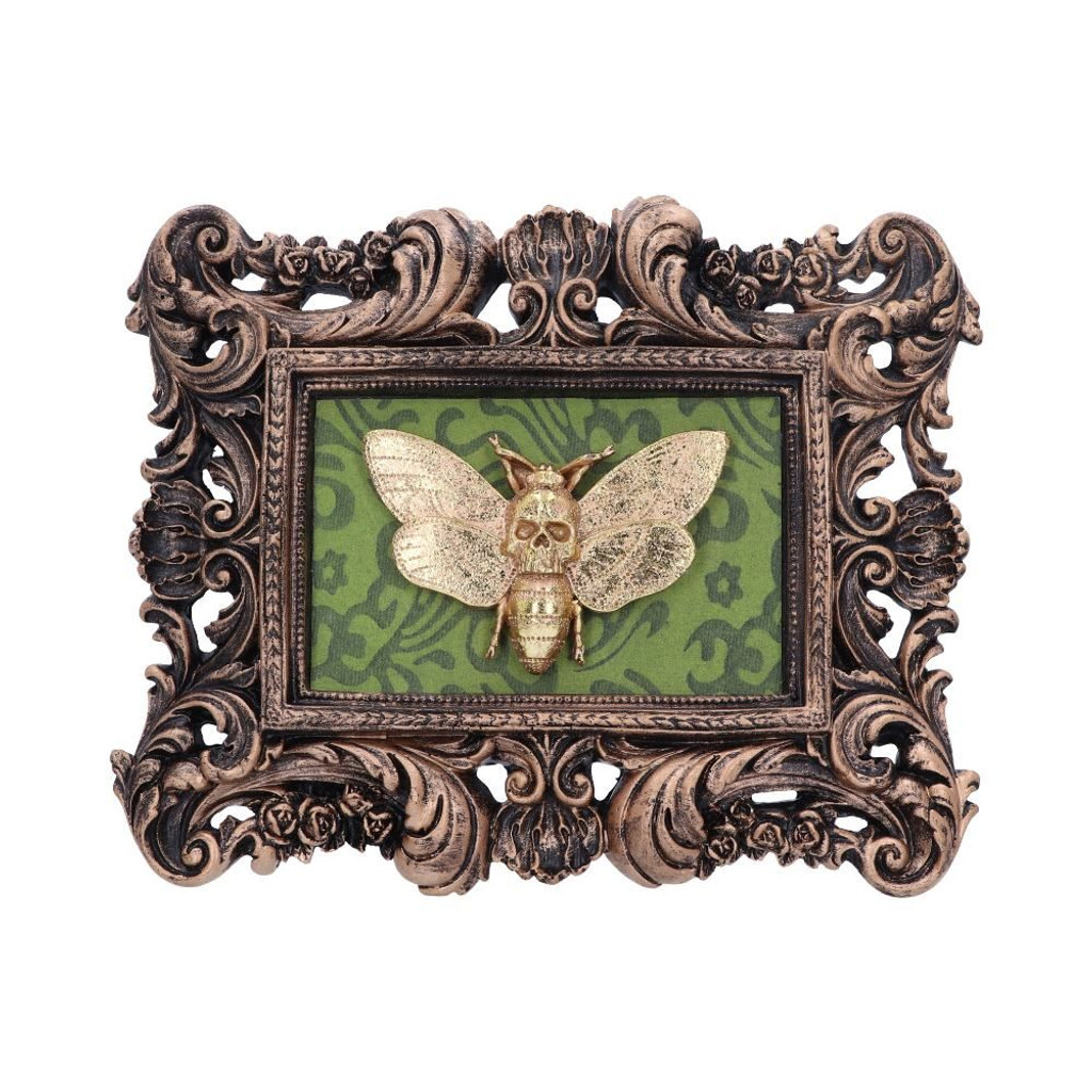 Ornate Rectangular Frame with Mounted Gold Resin Death Head Moth
