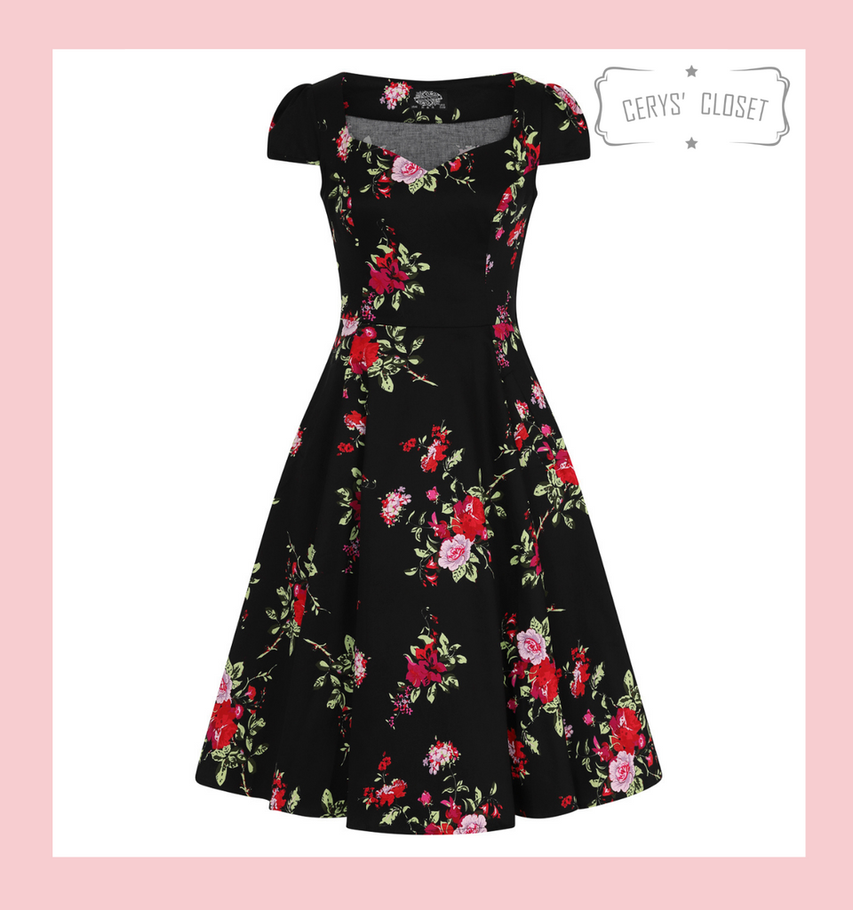 Hearts and Roses London Black and pink Floral 50s Inspired Swing Dress with Cap Sleeves and Sweetheart Neckline at Cerys' Closet
