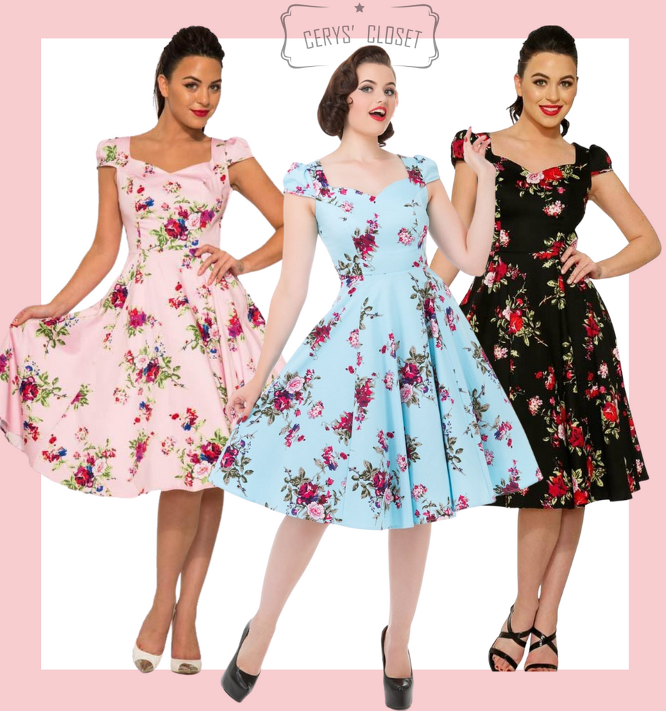 Black and pink Floral 50s Inspired Swing Dress with Cap Sleeves and Sweetheart Neckline - Darcey