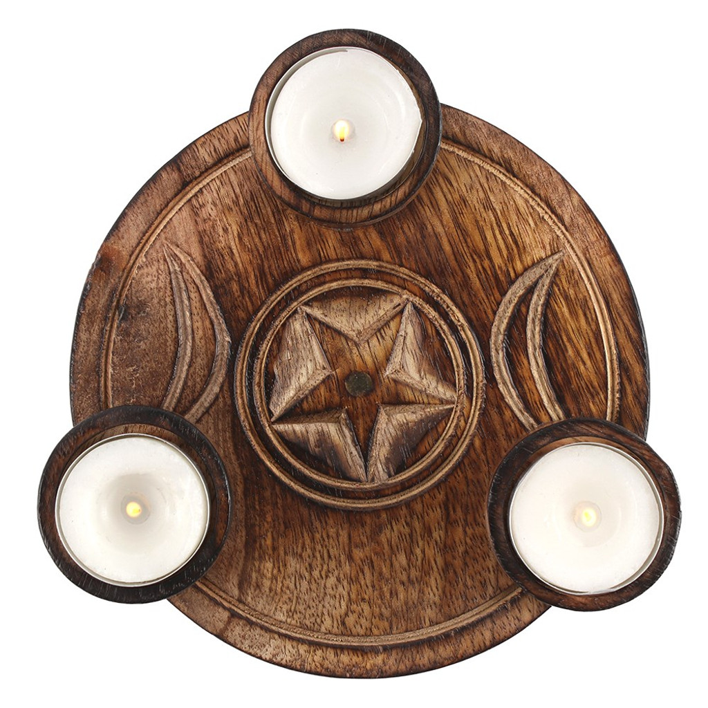 Wooden Triple Moon Embellished Tealight Candle Holder
