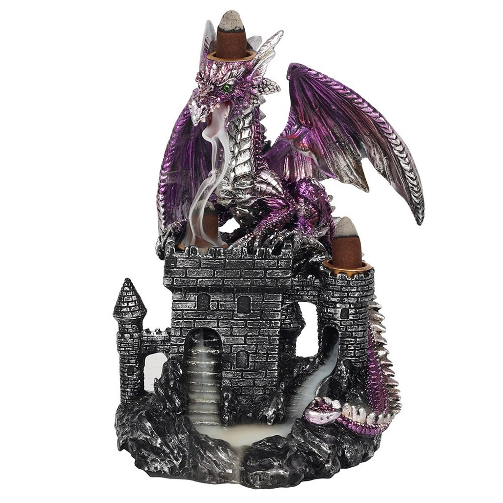 Backflow Incense Burner - Purple Dragon Wrapped Around A Castle