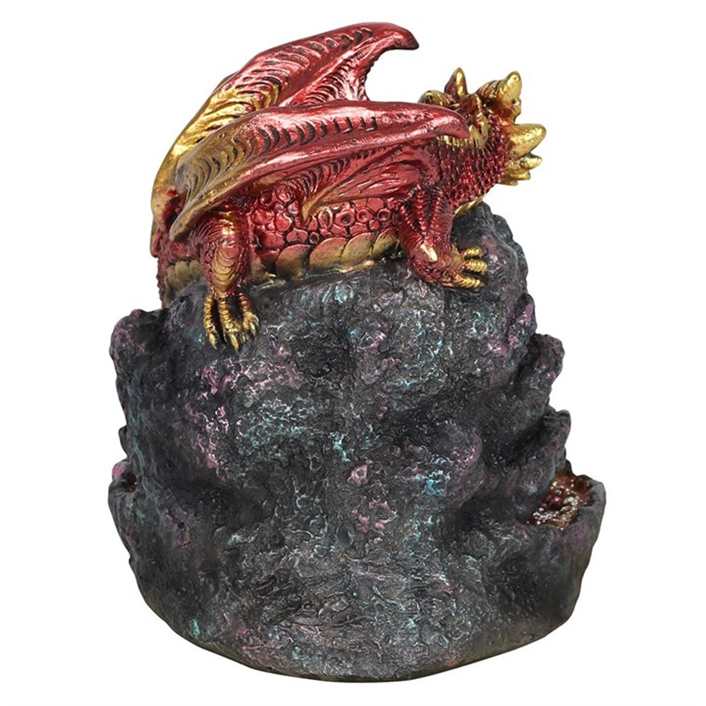 Backflow Incense Burner - Red Dragon with Colour Changing LED Light and Crystal Cave