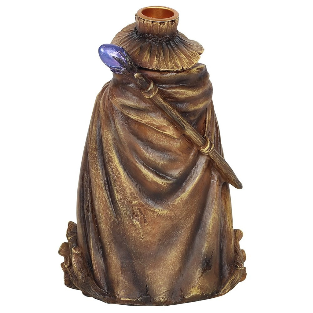 Backflow Incense Burner - Wizard with LED Colour Changing LED Light and Crystal Cave