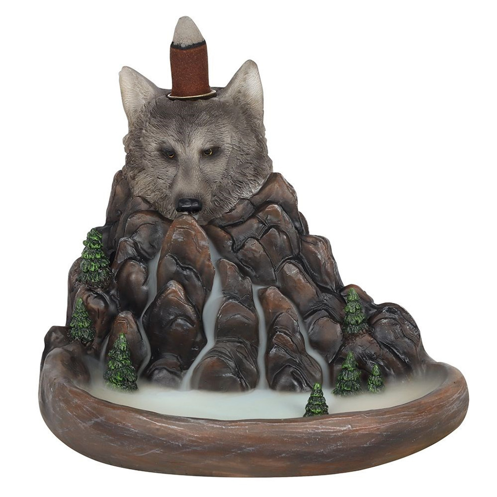Backflow Incense Burner - Grey Wolf with Mountain and Lake Scape