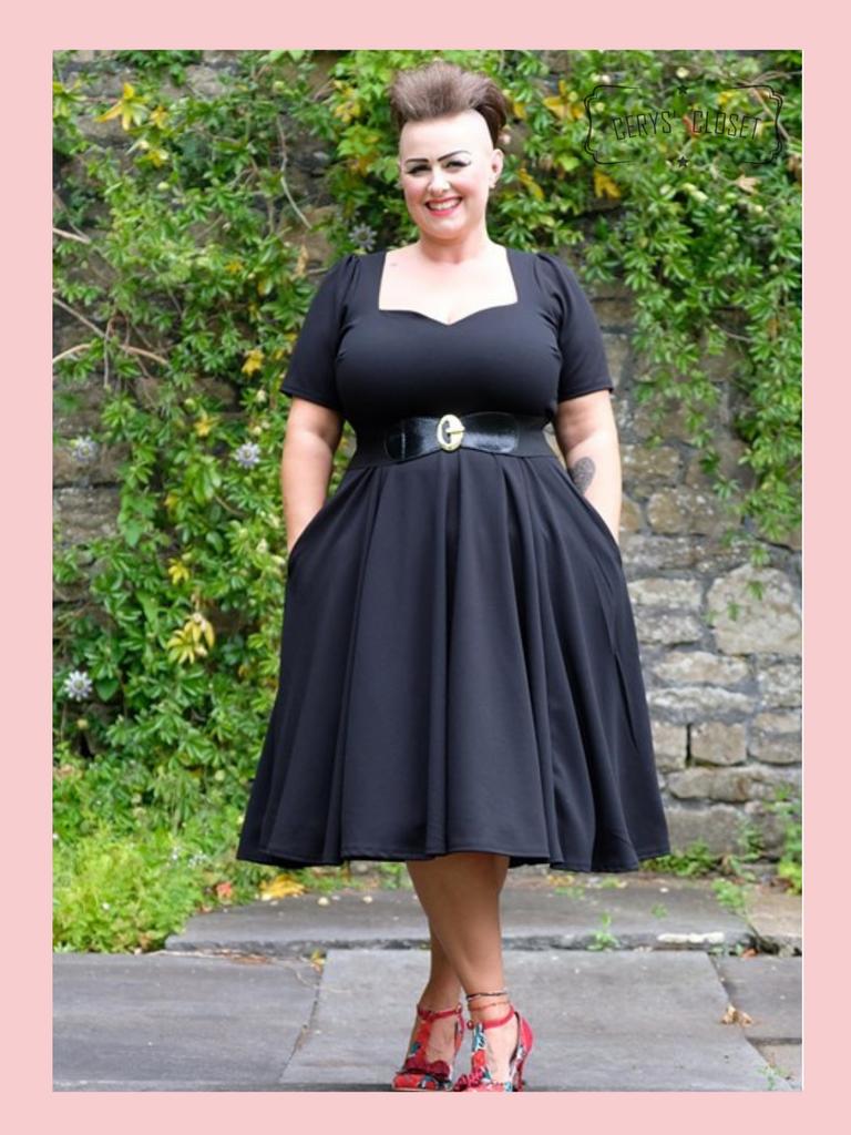 50s Vintage Inspired Vera Sweet Heart Swing Dress by Cerys' Closet in Black