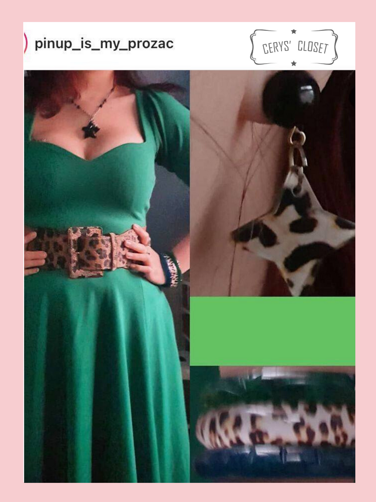 50s Vintage Inspired Vera Sweet Heart Swing Dress by Cerys' Closet in Green