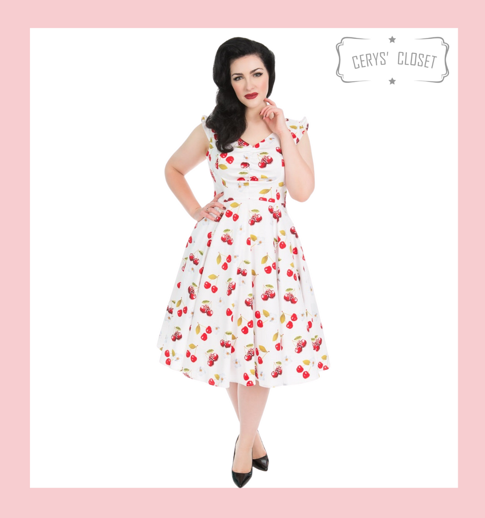 Hearts and Roses London White Cherry Print V Neck 50s Vintage Sleeveless Swing Dress in Plus Size only at Cerys' Closet