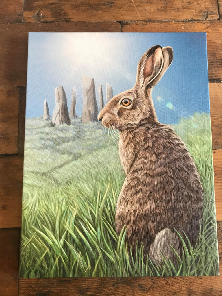 """""""Solstice"""" Hare and Full Moon Canvas By Lisa Parker 19 x 25CM"""