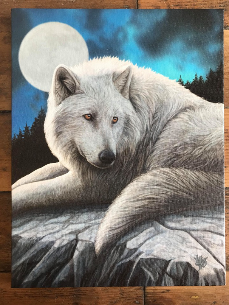 """""""Guardian of The North"""" White Wolf Canvas By Lisa Parker 19 x 25CM"""