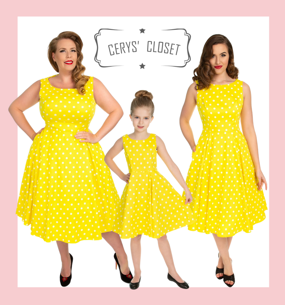 Hearts and Roses London 50s Vintage Inspired Sunshine Yellow and White Polka Dot Audrey Neckline Sleeveless Swing Dress at Cerys' Closet