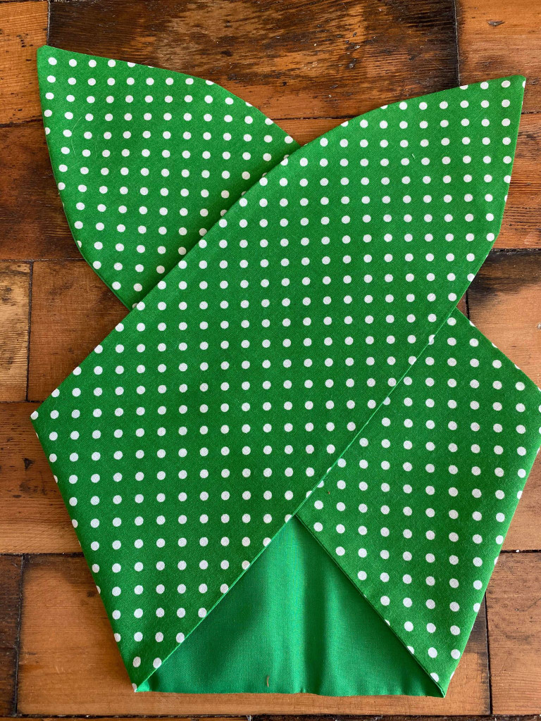 50s Retro Inspired Reversible Hairband - Green polka Dot