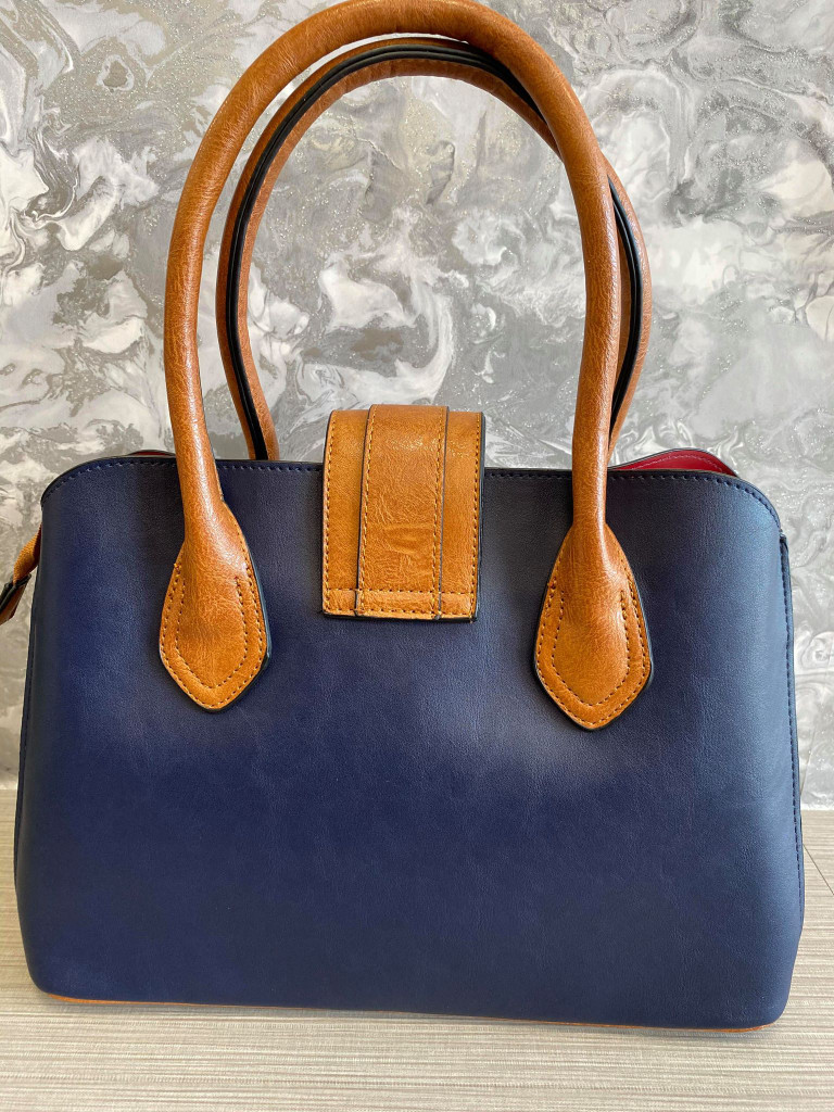 Floral Print Vintage Reproduction Style Faux Leather Zip Top Handbag with Slip Pockets - Navy