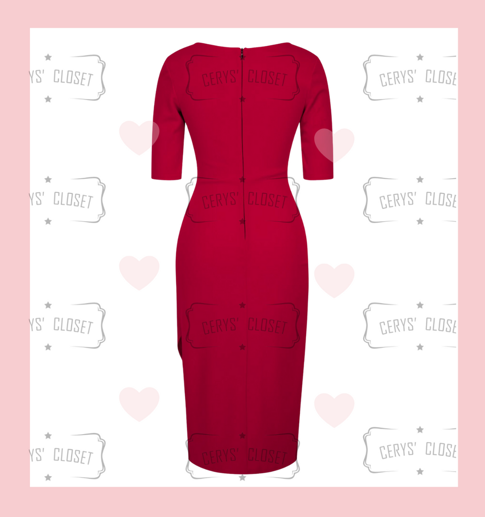 Lipstick red Sexy 40s Vintage Inspired Bombshell Sweet Heart Wiggle Bodycon Dress by Cerys' Closet