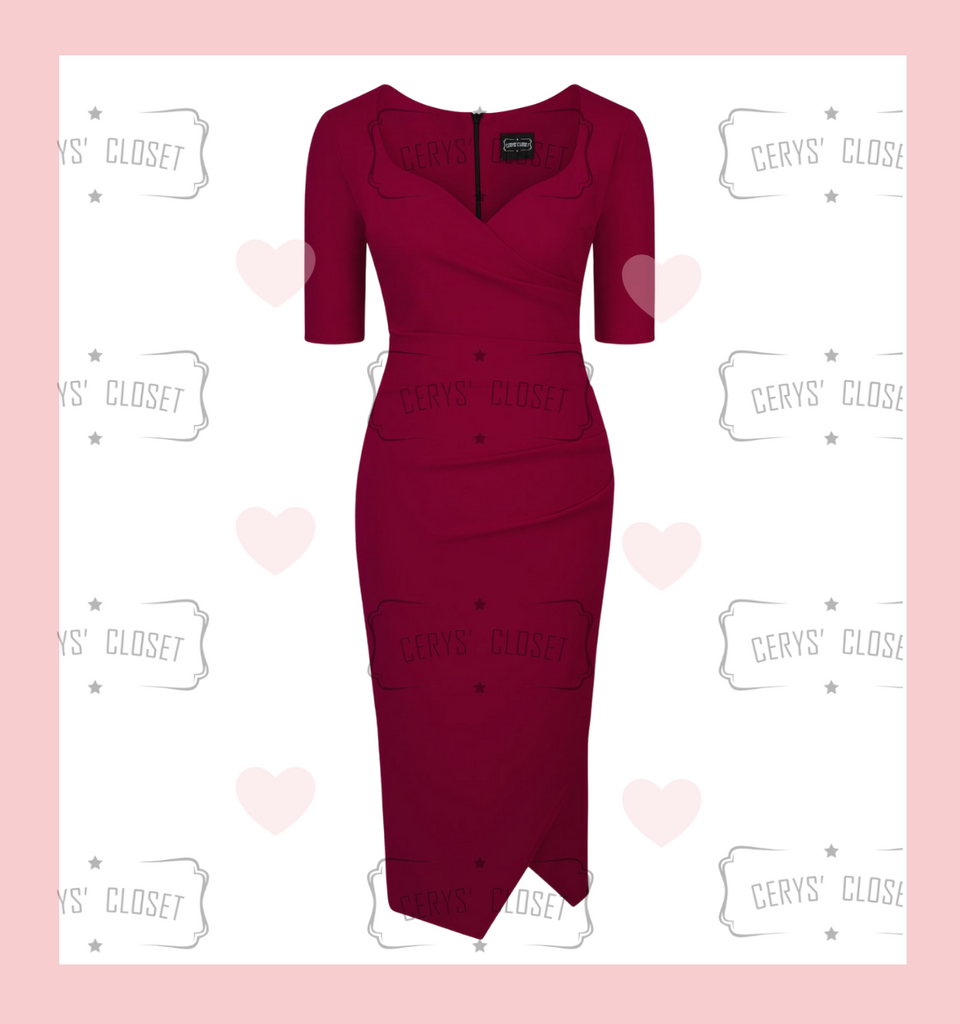 Merlot, Burgundy Sexy 40s Vintage Inspired Bombshell Sweet Heart Wiggle Bodycon Dress by Cerys' Closet